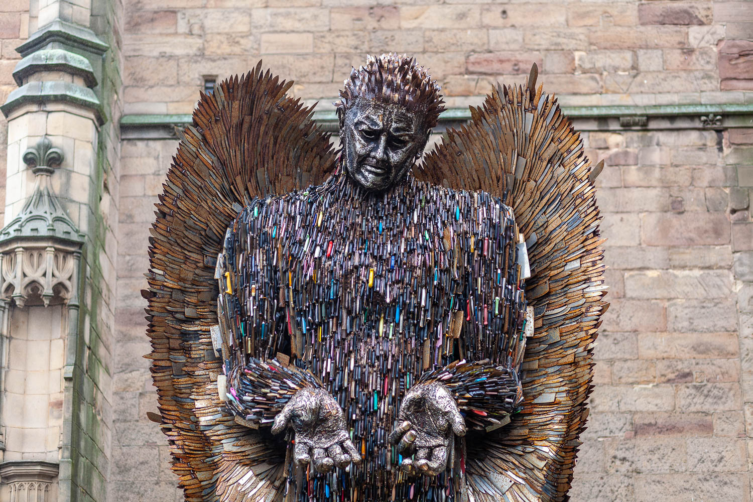 the knife angel outside Derby Cathedral