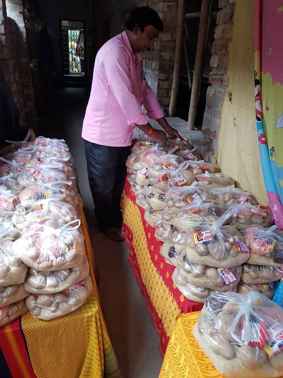 rice and potatoes bagged for delivery