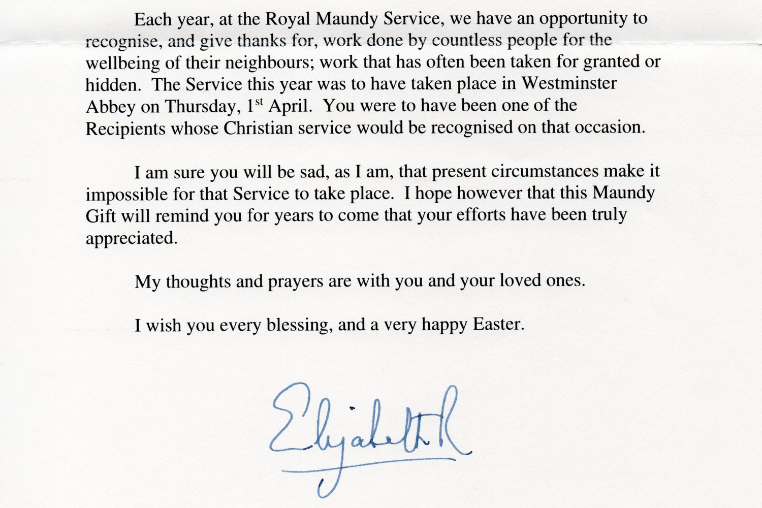 part of the letter from the queen to bob glassey