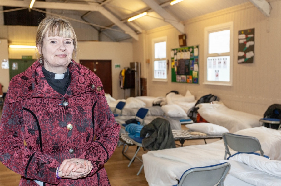 The Revd Christine French at the Ilkeston Winter Shelter, which has been a warm, safe haven for homeless people since Christmas Day.